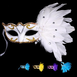$enCountryForm.capitalKeyWord Australia - MOQ;50PCS New Exquisite mystery Masked Girl Feather Half Face Painted Mask Masquerade Christmas Halloween Birthday Party Accessories