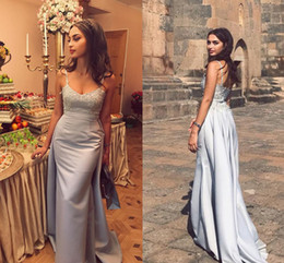 Wholesale Silver Mermaid Evening Dresses V Neck Spaghetti Straps Appliques Beaded Satin Over Skirt Backless Long Prom Dresses Sweep Train