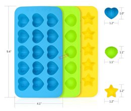 heart shaped cake molds Canada - 15Holes Star Shell Heart Shape Chocolate Mold DIY Silicone Cake Decoration Mold Jelly Chocolate Molds