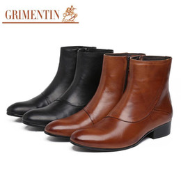 Discount italian boots brands - 2017 Brand Fashion Zip Mens Motorcycle Boots Genuine Leather Round Toe Men Dress Shoes Italian Designer Cowboy Botas 201