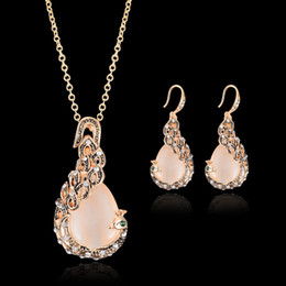 Artificial Chains Wholesalers Australia - Women Artificial stone Alloy Pendant Necklace Earring Jewelry Set 18K Plated Chain Necklace Jewelry 12pcs Sale