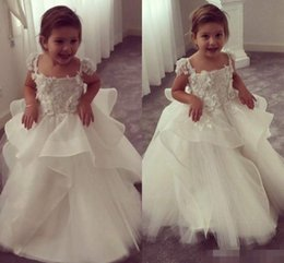 $enCountryForm.capitalKeyWord Canada - 3D Floral Appliques Arabic 2019 Flower Girl Dresses Spaghetti Ball Gown Tulle Child Dresses Beautiful Flower Girl Wedding Dresses