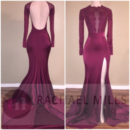 cheap pink long sleeve mermaid gown 2019 - Burgundy Red Lace Mermaid Prom Dresses Side Split Backless Floor Length Cheap Party Evening Gowns Satin Formal Occasion