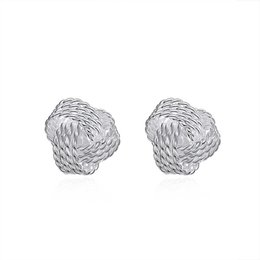 Chinese  Graceful 925 Silver Plated Jewelry Delicate Knot Women's Stud Fashion Earrings Party Lovely Earrings Free Shipping manufacturers