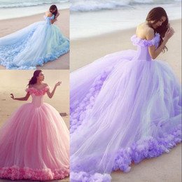 Ball Gown Wedding Dresses Corset Back Canada - Colorful Ball Gown Style Beach Wedding Dresses Off the Shoulder Handmade Flowers Corset Lace up Back Pink Light Purple Blue Peach Bride Gown