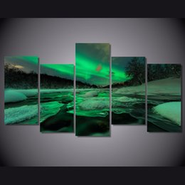 lighted canvas art Canada - 5 Pcs Set Framed HD Printed Lights South Norway Landscape Picture Wall Art Canvas Print Room Decor Poster Canvas Painting Wall
