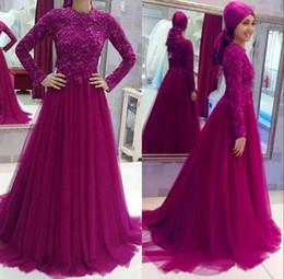 6e6d1da063 2018 Vintage Muslim Fuchsia Lace Long Sleeve Evening Gowns High Neck Beaded  Dubai Abaya Formal Prom Party Dresses
