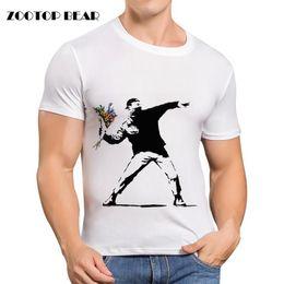 645c9708ea Wholesale- famous Printed Banksy T shirt Men Casual Shirt Short Sleeve  Summer Brand Clothing White Skateboard Camisa Male 2016 ZOOTOP BEAR