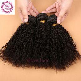 Discount best virgin kinky curly hair - 100% Unprocessed Virgin Brazillian Hair Kinky Curly Human Hair Weave Bundles 3Pcs Best Quality Sew Hair Extensions Weft