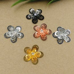 14k Gold Charm Bracelet Antique Australia - 08025 24mm DIY Handmade antique filigree flower charms silver jewelry, gold color charm pendant for bracelet, fashion girl woman charm bead