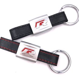 $enCountryForm.capitalKeyWord UK - New Alloy PU Leather Keyring keychain Car Logo Black Red R Line Rline Fit For VW Golf Jetta R32 R36 MK6 Key ring Car styling