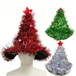 wholesale 1 pc tinsel christmas tree hat headband decorations fancy dress costume hat christmas party supplies headgear for halloween - Discount Christmas Trees