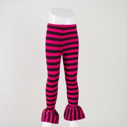 $enCountryForm.capitalKeyWord Canada - baby girls leggings children hot pink and black stripe single ruffle pants kids casual style beautiful full length pants