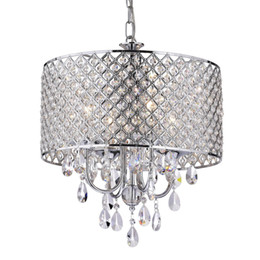 China Modern Chandeliers with 4 Lights Pendant Light with Crystal Drops in Round, Ceiling Light Fixture for Dining Room, Bedroom, Living Room cheap silver light crystal chandelier suppliers