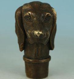 $enCountryForm.capitalKeyWord Australia - Fierce Chinese Old Bronze Hand Carved Dog Statue Walking Stick Head Collection