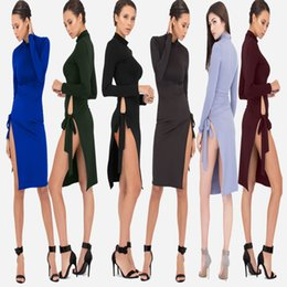 Robe De Femme À Découper Pas Cher-2017 Fashion New Arrival Womens Sexy Robes longues Summer Ladies Plain Grey V Neck Découpe Split Shift Maxi Dress