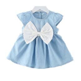 $enCountryForm.capitalKeyWord NZ - New Arrivals Baby Girl Short Sleeve Dress Girl Denim Dress with Bow Baby Infant Girls Dress Baby Cotton Clothes