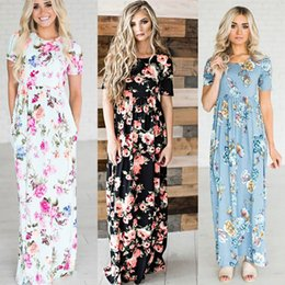 Maxi Long Été Plage Sundresses Pas Cher-Femmes BOHO Floral Long Evening Party Cocktail Ladies Summer Beach Robe Maxi Crew Neck Full Length Sundress