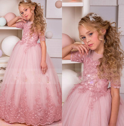 Concurso De Niños Rosa Baratos-Lovely Pink 2018 Lace Flower Girl Dresses Vestidos de baile de manga corta Jewel Neck Vestidos del desfile palabra de longitud Little Kids FlowerGirl Dress