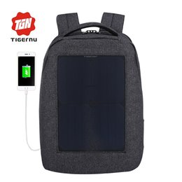 laptop travel power 2019 - Wholesale- 2017 Tigernu New travel backpack 10W Solar Power Charger Backpack for Men 24.5L Waterproof Oxford 14.1inch la