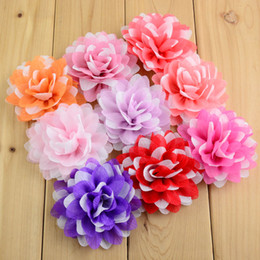 Wholesale 100pcs Colors Kids Multi layer Glitter Chiffon Flowers cm girls Hair Beauty Floral DIY Headbands Accessories MH73