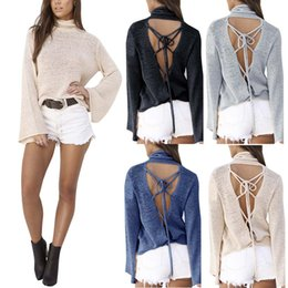 Barato Laço De Gola Alta-Atacado- Mulheres Casual Sexy Pullovers Sweaters Moda Backless Sweaters Long Sleeve Lace Up Knitwear Turtleneck Bandage Tops YF327