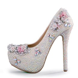 AB Crystal Color Wedding Shoes White Rhinestone Bridal Pumps Princess  Luxurious Formal Dress Shoes Prom Party Shoes Plus Size 1b5a12763932