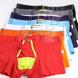 Barato Nylon Spandex Boxers-Hot Open Pouch Hole Bag Sexy Men Nylon Spandex Boxer Shorts 7 Color Underwear Moda Homens New Boxers