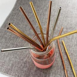Rose Gold Canudos De Metal Reutilizáveis Colorido Aço Inoxidável Beber Suco De Palha Partido Bar Acessorie Frete Grátis ZA5268 em Promoção