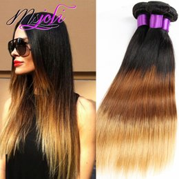 ombre hair extensions 22 inch NZ - Peruvian Virgin Hair 9A Ombre Color Three Tones Straight Human Unprocessed Hair Extension Weft Three Pcs T1b-4-27