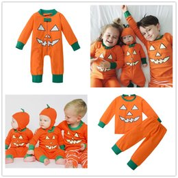 Discount neck face clothing - Halloween pumpkin costumes kid outfit baby jumpsuit boys girls cotton newborn bodysuit demon face orange green All Hallo