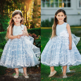 little bride wedding ball gowns images Australia - Cheap Blue Ball Gown Flower Girl Dress Lace Hand Made Flower Communion Gowns Vintage Wedding Dresses For Little Bride