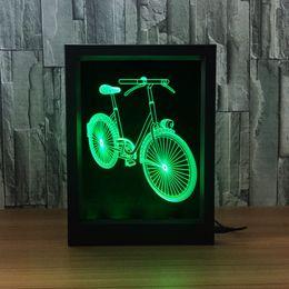 $enCountryForm.capitalKeyWord Australia - 3D Bike LED Photo Frame Decoration Lamp IR Remote 7 RGB Lights DC 5V Factory Wholesale Drop Shipping