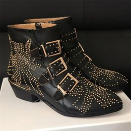 Discount Buckle Studded Ankle Boots Women | 2017 Buckle Studded ...