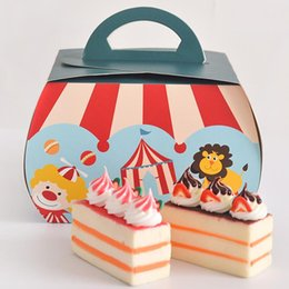 Barato Bolsas Para Partidas Favoritas-20pcs / lot DIY circus padrão bonito Candy Box Handbag Paper Box Favor Gift Bag Party Supplies