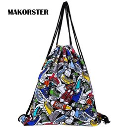 Discount plain color blue string bag - Wholesale- Fashion Patchwork women backpack bag drawstring bagpacks Canvas Striped backpacks & carriers cheap printing b