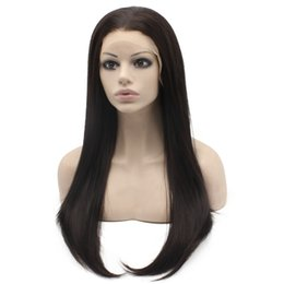 "$enCountryForm.capitalKeyWord NZ - 24"" Long Dark Brown Silky Straight Half Hand Tied Heat Resistant Synthetic Fiber Lace Front Fashion Wig S02"