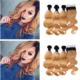 Ombre Human Hair Extensions Closure Canada - 9A Grade Ombre Brazilian body wave 3 bundles with closure ombre 1B 27 dark honey blonde virgin human hair extensions Ombre Hair
