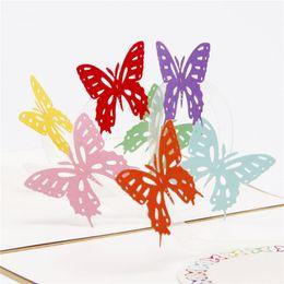 $enCountryForm.capitalKeyWord Australia - 10pcs lot Creative 3d Rainbow Butterflies Pop UP Card Greeting Cards Handmade Paper Art Carving 3d Wedding Invitations