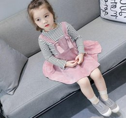 Salopette En Velours Côtelé Pas Cher-2017 Autumn Baby Kids Girls Robe en mousseline de soie en velours côtelé Jupe suspension princesse enfant Princesse 3497