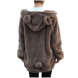 Cute Hoodies Ears Wholesale Pas Cher-Vente en gros- Femmes Hoodies Zipper Girl Hiver Loose Fluffy Bear Hoodie Hooded Jacket Manteau chaud Manteau Sweat-shirt mignon 7644