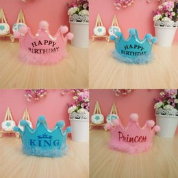 Wholesale 2017 New Creative Children Birthday Crown Hat Pink Blue Venonat Caps Adults Headband Birthday Party Hats