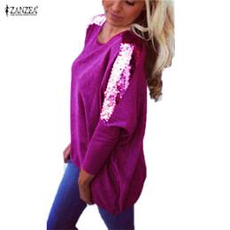 China Wholesale-2016 Fashion Women T shirt Autumn Winter Loose Casual Sequins Long Sleeve Sexy Tops Blusas Femininas Tee poleras de mujer roupas supplier blusas femininas casual suppliers
