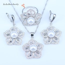 Peacock Pendant Set NZ - 2017 Fashion Flower White Simulated-Pearl White CZ Pendant Necklace Earrings 925 Sterling Silver Jewelry Sets For Women