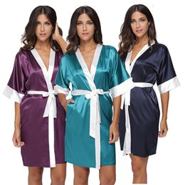Robes De Soie Courtes Et Sexy Pas Cher-Vente en gros- Plus Size Women's Sexy Short Satin Robe Lingerie Sleepwear Nightgown Femme Patchwork Salon Robe en soie Wedding Robes de demoiselle d'honneur