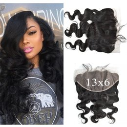 Discount bleached natural hair - peruvian body wave lace frontal closure 13x6 bleached knots natural 100% human hair full frotnal closure G-EASY