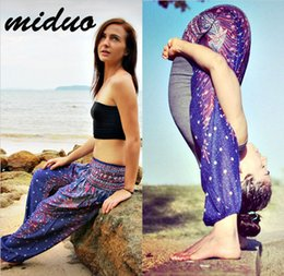 Pantalons Ajustés Pantalons Femme Pas Cher-Hommes et femmes Pantalons de yoga Forêt Style ethnique Pantalon de jambe large Thaïlande Elastic Dancing Loose Fit lanterns High Waist Beach Trousers