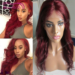 Style Wavy Front Lace Wigs NZ - Hot Sale 99J brazilian virgin remy hair wavy style burgundy lace front human hair wig free shipping