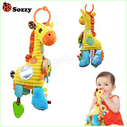 Discount cloth toys patterns - Wholesale- 1pcs Lovely Cartoon Giraffe Pattern Baby Toys Musical Rattle Ring Bell Plush Children Puzzle Doll