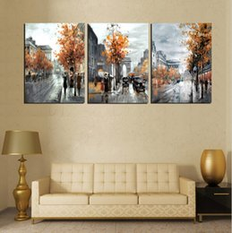 digital poster frames NZ - 3 Piece Painting Calligraphy Vintage Abstract City Street Canvas Poster Arts Oil Painting On Canvas Prints Modern Decor No Frame